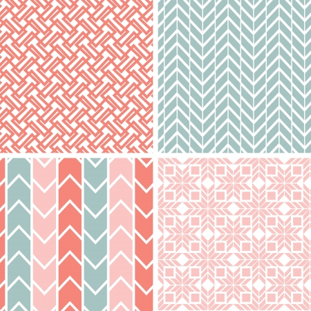 Set of four gray pink geometric patterns and backgrounds