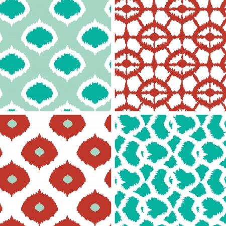 Set van groene en rode ikat geometrische naadloze patronen achtergronden