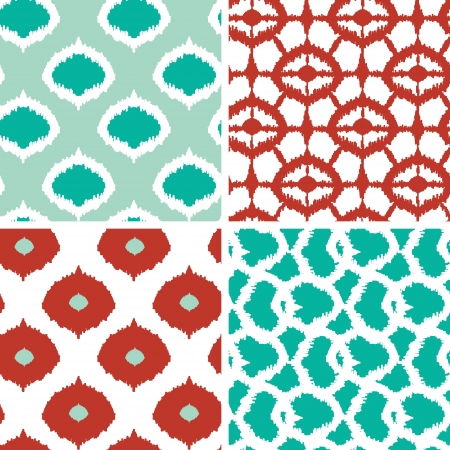 Set of green and red ikat geometric seamless patterns backgrounds Illustration