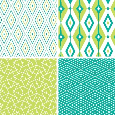 Set of green ikat diamond seamless patterns backgrounds