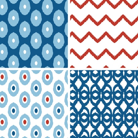 Set of blue and red ikat geometric seamless patterns backgrounds Vettoriali