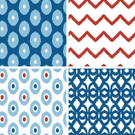 Set van blauwe en rode ikat geometrische naadloze patronen achtergronden Stock Illustratie