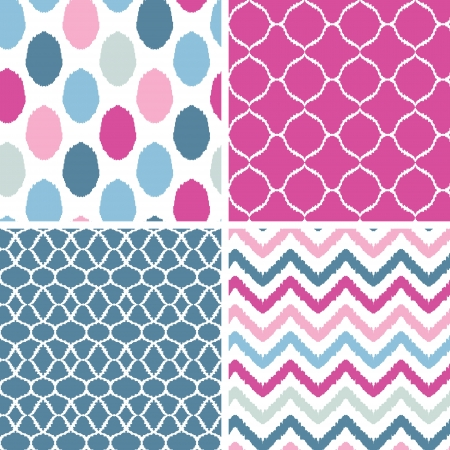 Set of blue and pink ikat geometric seamless patterns backgrounds Illustration