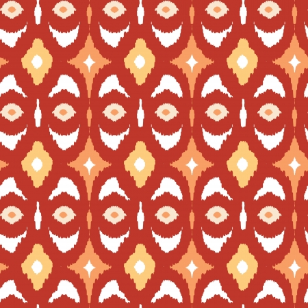 Red and gold ikat geometric seamless pattern background Vector