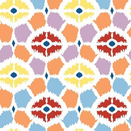 Colorful diamonds ikat geometric seamless pattern background Vector