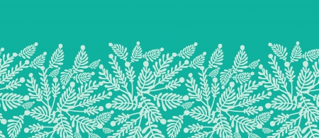 Emerald green plants horizontal seamless pattern background Vector