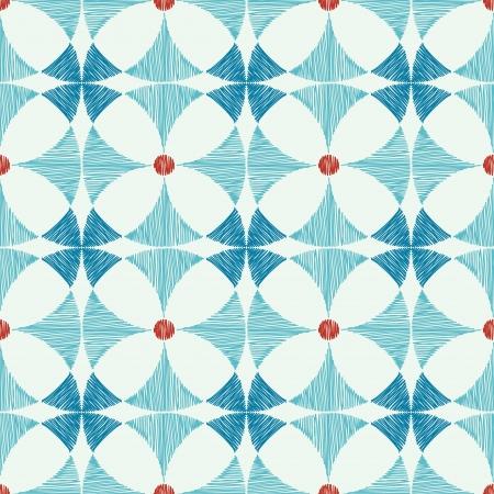 Geometric blue red ikat seamless pattern background