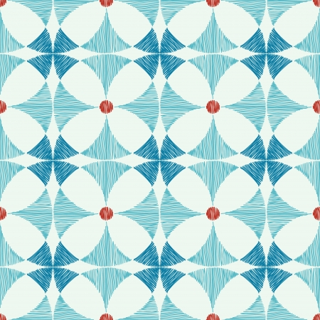 Geometric blue red ikat seamless pattern background
