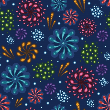Holiday fireworks seamless pattern background Stock Vector - 20184957