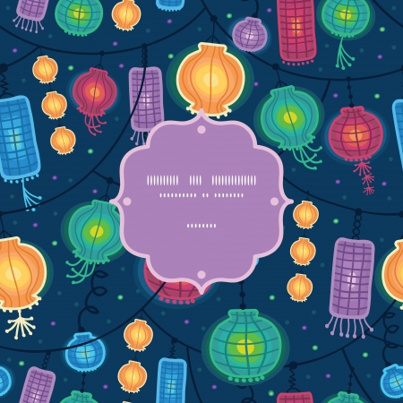 Glowing lanterns frame seamless pattern background