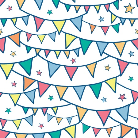 Colorful doodle bunting flags seamless pattern background Vector