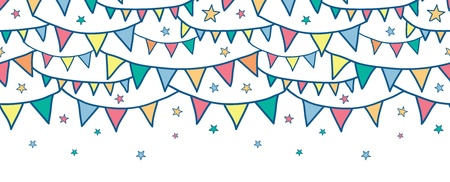 Colorful doodle bunting flags horizontal seamless pattern background Vettoriali