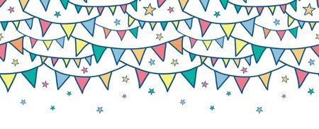 Kleurrijke doodle gors vlaggen horizontale naadloze patroon achtergrond