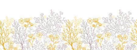 Magische bloemen horizontaal naadloze patroon achtergrond Stock Illustratie
