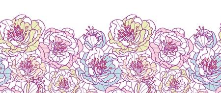 Colorful line art flowers horizontal seamless pattern background border