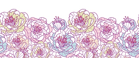 Colorful line art flowers horizontal seamless pattern background border
