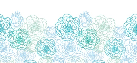 and turquoise: Blue line art flowers horizontal seamless pattern background border