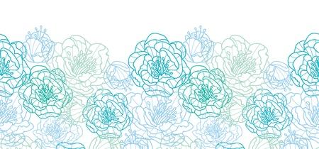 Blue line art flowers horizontal seamless pattern background border