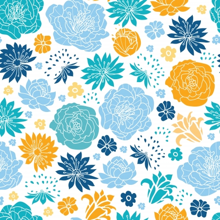 Blue and yellow flowersilhouettes seamless pattern background Stock Vector - 20342029