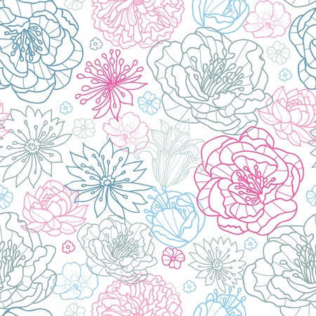 Gray and pink lineart florals seamless pattern background
