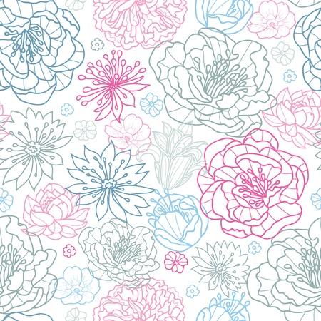 Grijs en roze lineart bloemen naadloze patroon achtergrond