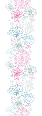 Gray and pink lineart florals vertical seamless pattern background Vector