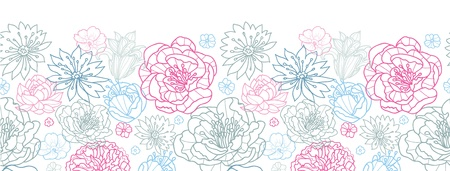 Gray and pink lineart florals horizontal seamless pattern background Illustration