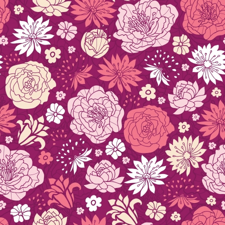 Purple pink flower silhouettes seamless pattern background Illustration