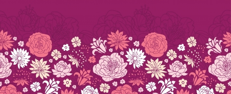 Purple pink flower silhouettes horizontal seamless pattern background border