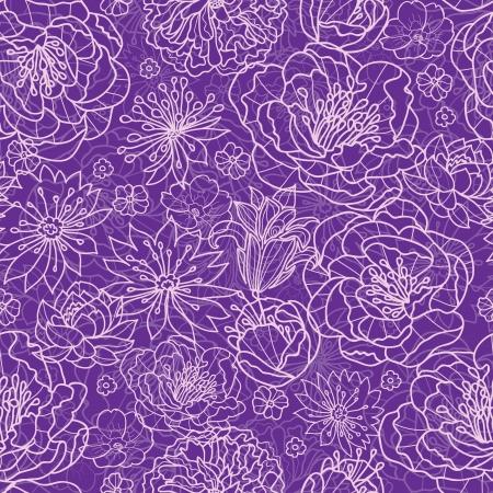 lacey: Purple lace flowers seamless pattern background