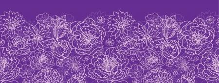 Paarse kant bloemen horizontale naadloze patroon achtergrond grens