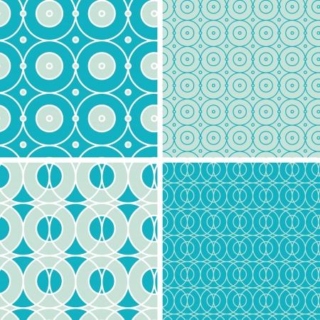 Abstract geometric circles seamless patterns set
