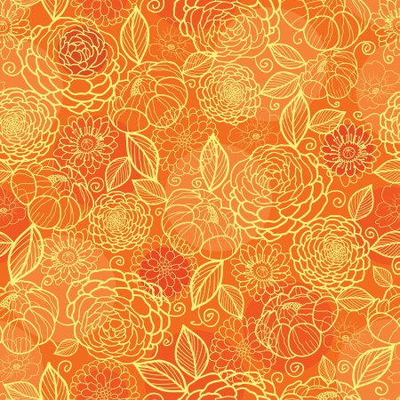 Golden orange floral texture seamless pattern background Stock Vector - 20610142