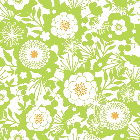 Green and golden garden silhouettes seamless pattern background Stock Vector - 20610101