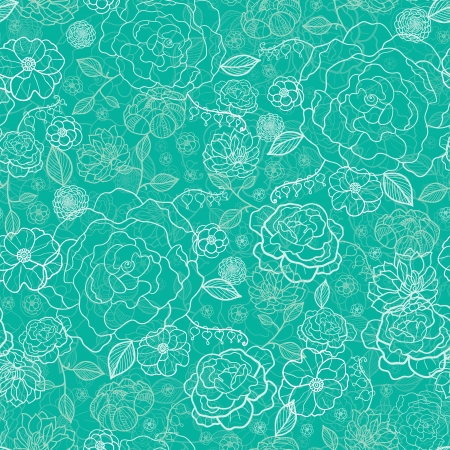 Emerald green floral lineart seamless pattern background