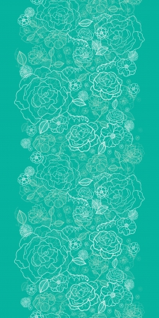 Emerald green floral lineart vertical seamless pattern background