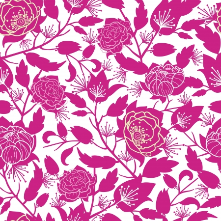 Magenta floral silhouettes seamless pattern background 向量圖像