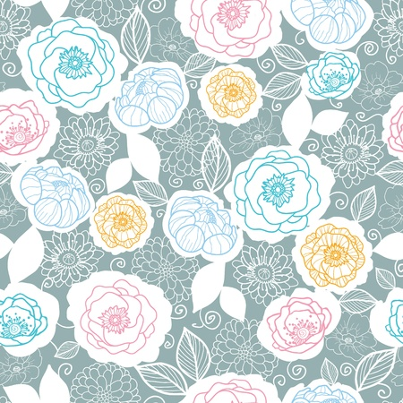 Silver and colors florals seamless pattern background Vector