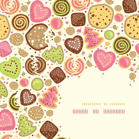 Colorful cookies corner pattern background