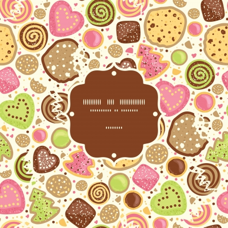 Colorful cookies frame seamless pattern background