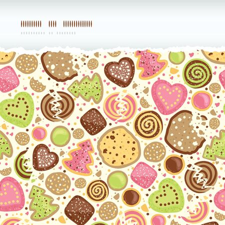 Colorful cookies horizontal torn seamless pattern background photo