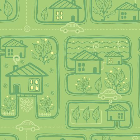 Town streets seamless pattern background