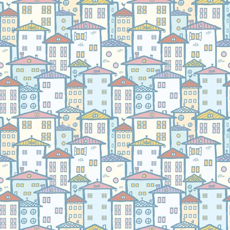 City houses seamless pattern background photo