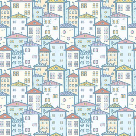 street lamp: City houses seamless pattern background Stock Photo