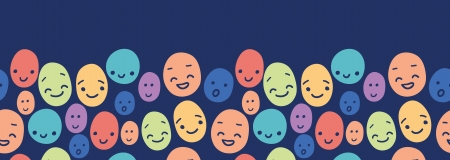 crowd happy people: Funny faces horizontal seamless pattern background border