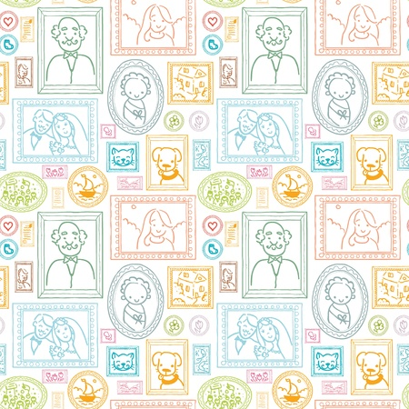 Family framed pictures seamless pattern background photo