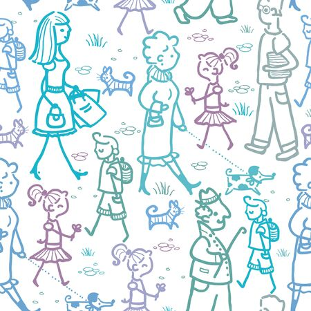 People walking seamless pattern background and borders photo