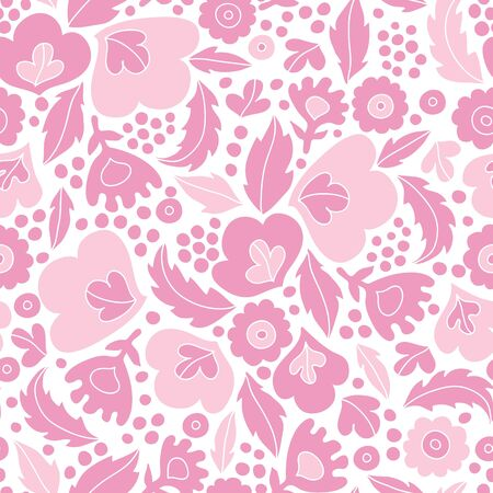 Soft pink floral silhouettes seamless pattern background photo