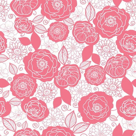Soft pink and white florals seamless pattern background photo