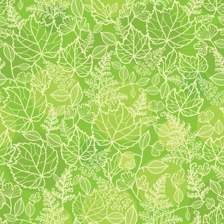 Green leaves lineart texture seamless pattern background Vector